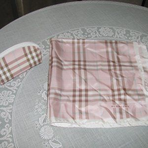 Burberry Plaid Silk Scarf Makeup Bag Pink